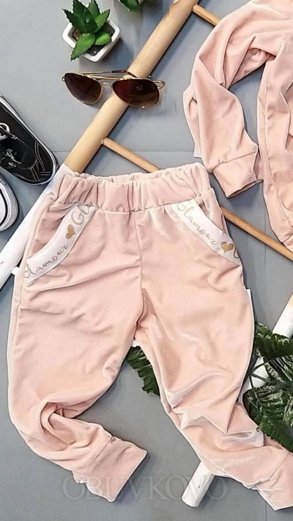 Púdrové semišové nohavice GLAMOUR