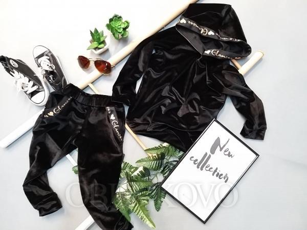 Čierne semišové nohavice GLAMOUR