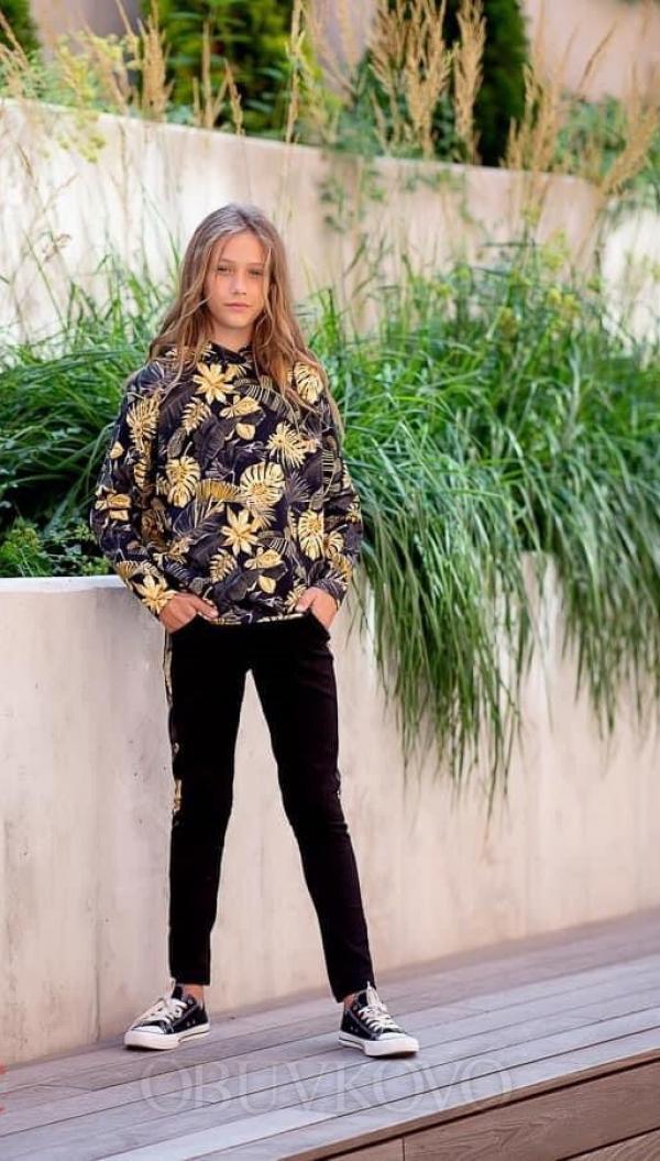Dievčenská vzorovaná mikina gold mix