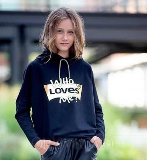 Dievčenská čierno zlatá mikina s kapucňou LOVES