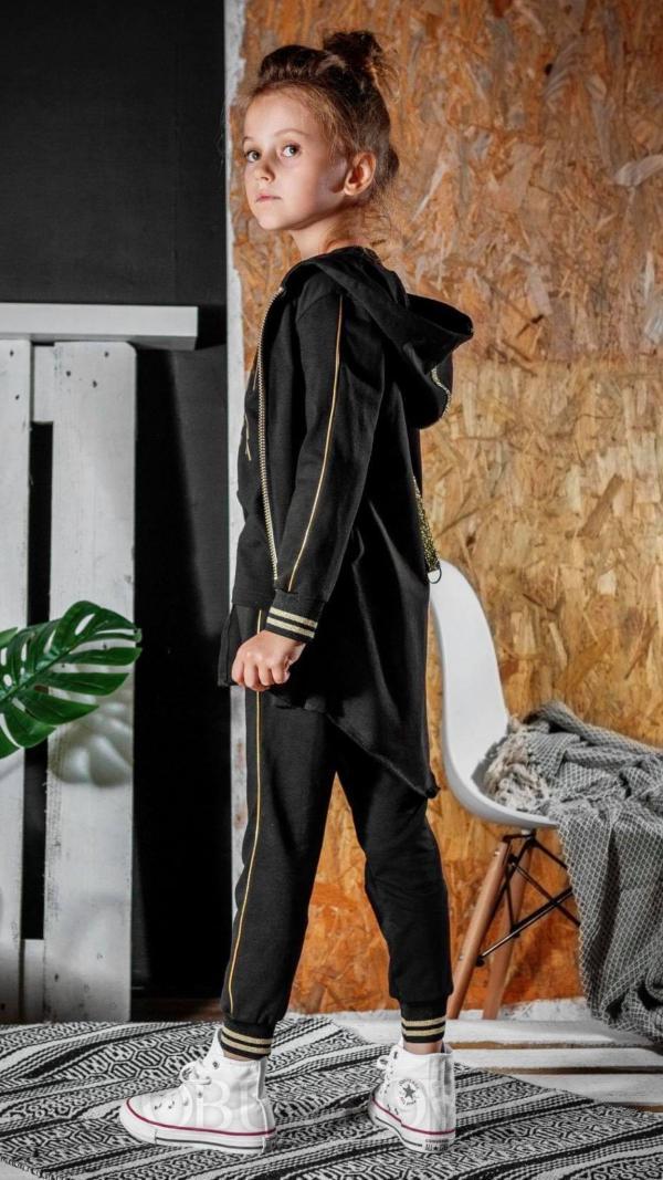 Dievčenské čierne nohavice - tepláky