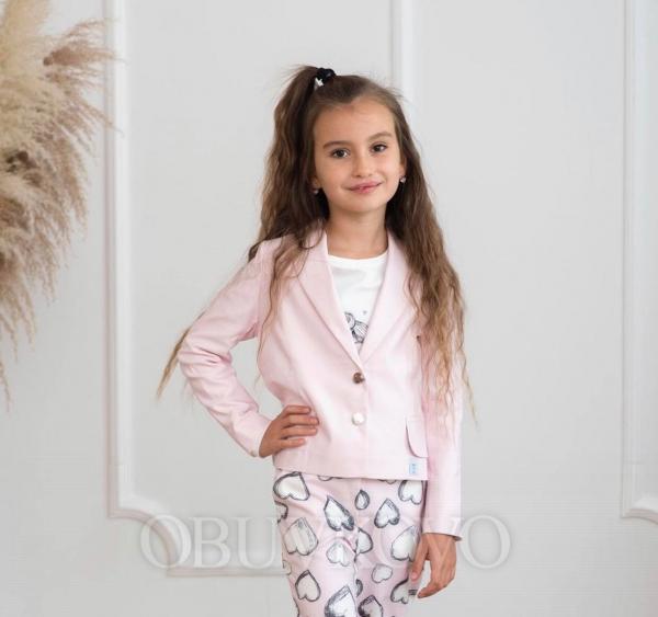 Dievčenské sako zapínanie na gombík PINK