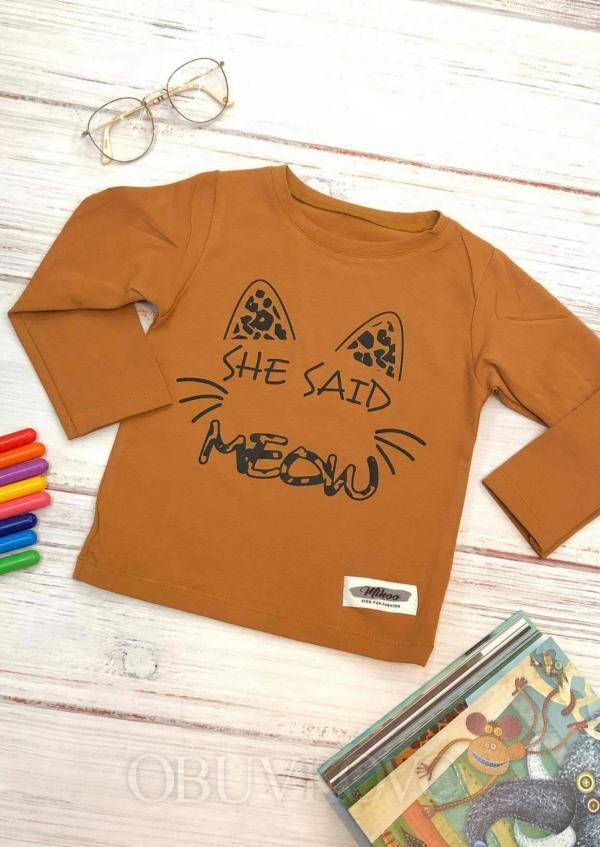 Dievčenské tričko  s dlhým rukávom MEOW brown