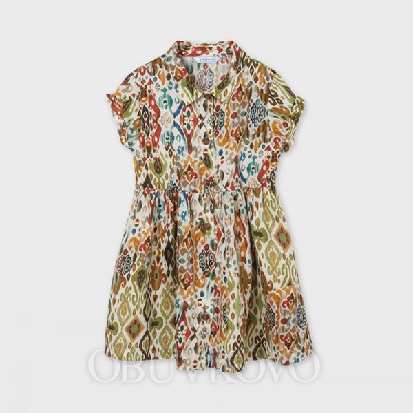 MAYORAL dievčenské košeľové šaty 6940-004 hunt green
