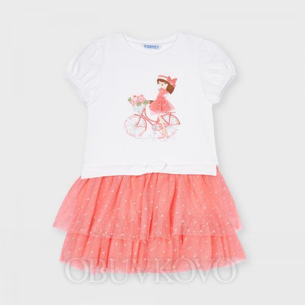 Dievčenské šaty s tylovou sukňou MAYORAL 3916-084 flamengo