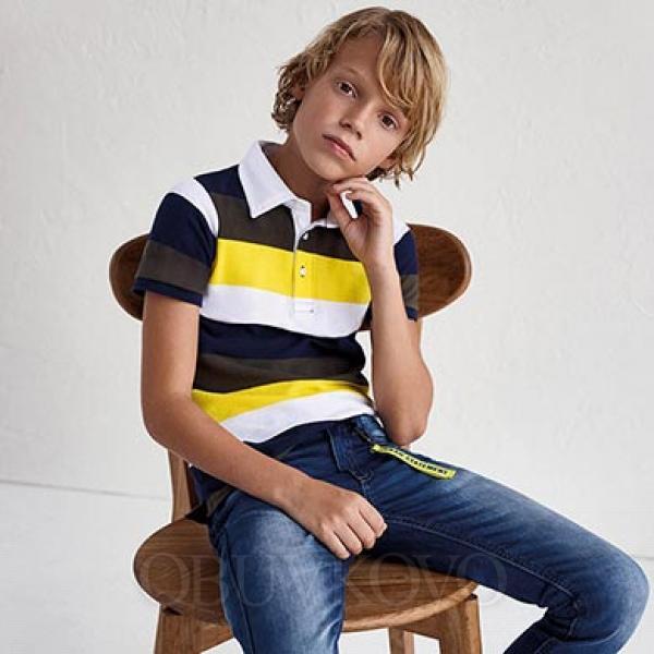 Chlapčenské tričko s golierom MAYORAL 6105-048 limo