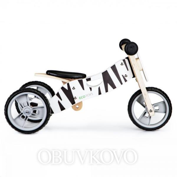 Detské drevené odrážadlo ECOTOYS 2v1 zebra