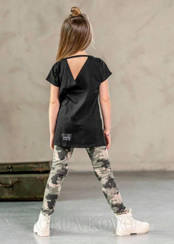 Dievčenské predlžené tričko  s výstrihom vzadu