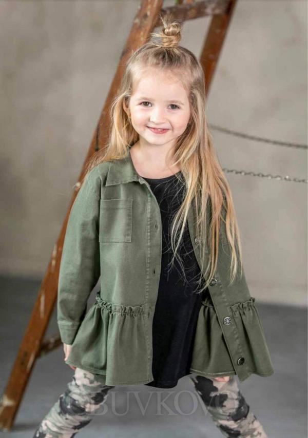 Dievčenská bavlnená košeľa s volánom GREEN