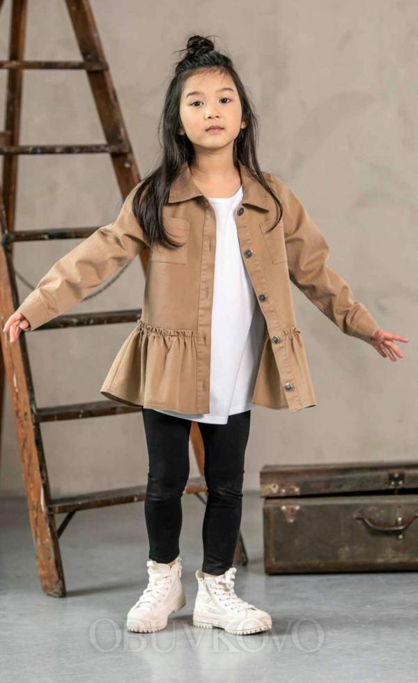 Dievčenská bavlnená košeľa s volánom BROWN