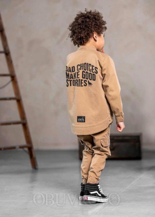 Chlapčenský predlžený bomber kabát BROWN