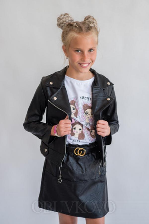 Dievčenská prechodná bunda kožená