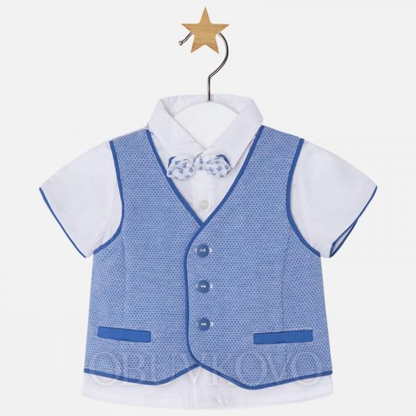 MAYORAL chlapčenská košeľa s vestou 1110-038 rivier blue